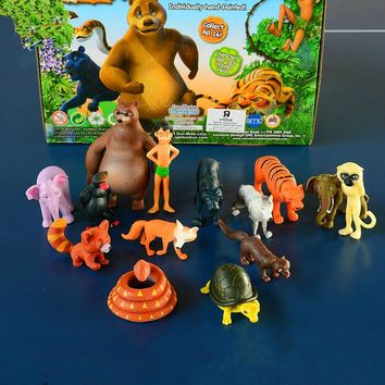 14PCS Disney New Kids Animal Toy  The Jungle Book Doll Kids Personalized Birthday Gifts  Anime Toy Figures Toys for Children