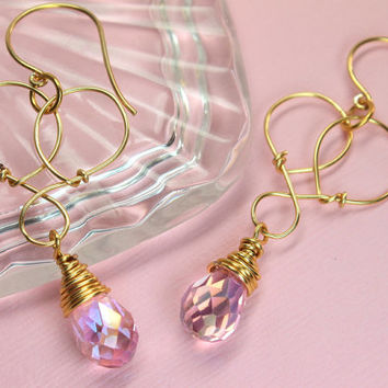 Pink Crystal Earrings, Wire Wrapped Crystals, Pink Teardrop Earrings, Gold Pink Chandelier Earrings