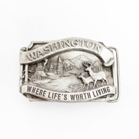 Vintage 80s Belt Buckle - WASHINGTON PNW Cast North West Belt - 1980s