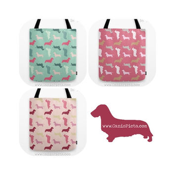 Dachshund Pattern Tote Bag Dog Doxie Pet Back to School Supplies Reusable Puppy Dog Pastel Dapple Longhair Cute Carryall Wire Smooth Short