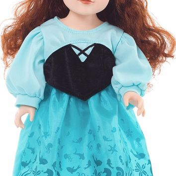 Little Adventures Mermaid Princess Doll Day Dress with Bow