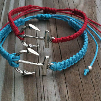 Couples Simple Silver Anchor Bracelets His and Hers Bracelets You Choose Color Friendship Bracelets Matching Bracelets