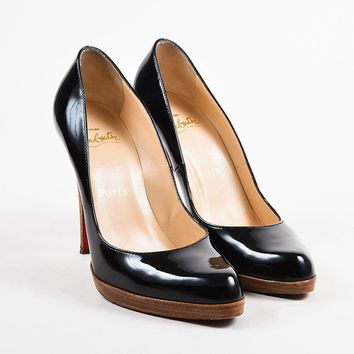 PEAP Christian Louboutin Black Patent Leather   Decollete 868 Zeppa   Pumps