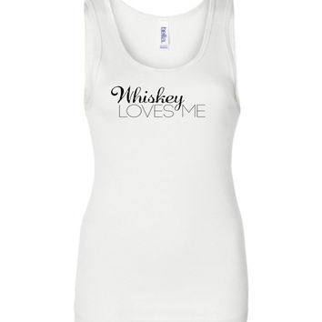 WHISKEY LOVES ME - Bella Wide Strap Tank