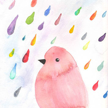 Bird Watercolor, Bird in the Rain, Colorful Bird, Bird Art, Bird Print, Rain Art, Rain Print, Rain Watercolor, 8x10, 5x7, Pink, Raindrops