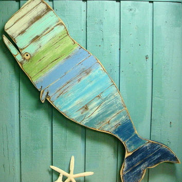 Whale Sign Beach House Sea Glass Colours Weathered Wood Wooden Whale