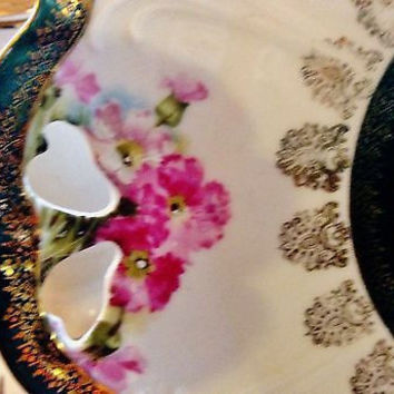 C1900 Hand Painted Scalloped Porcelain Eleanor China Double Handled Platter