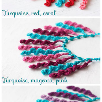 Statement bib necklace in turquoise, red, coral pink - Bight summer jewelry - Crochet tassel - Fiber art - Gift for her