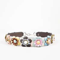 "Fendi Cream Multicolor Leather Studded ""Flowerland"" Bag Strap"