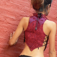 Psy Bohemian Velvet Vest with Zipper & Lace by ZaharaHipRoses