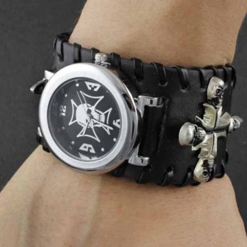 Cross Skull Biker Leather Bracelet Wrist Watch