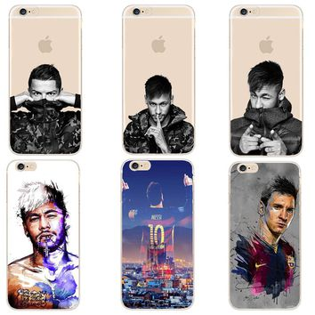 Barcelona Football Super Star Messi Neymar Ronaldo Phone Cases For iPhone 8 X 7 6 6S Plus 5 5S SE Hard Plastic Case Cover Capa