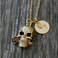Gold Romance Skull Charm Necklace, Initial Charm Necklace, Personalized, Day of the Dead Charm, Rose Skull Pendant, Skull Jewelry
