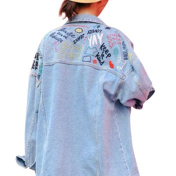 New fashion Woman Denim Jacket Graffiti Embroidered printed loose jean women Basic Coats Female Jeans Casual Girls Outwear