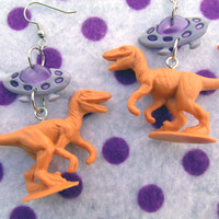 Jurassic Park Velociraptor Alien Abduction Earrings