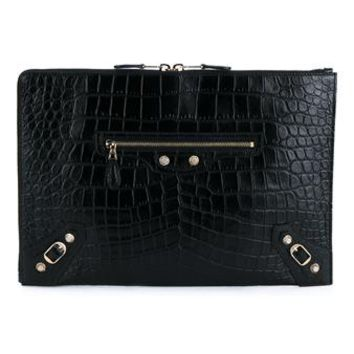 BALENCIAGA | City Crocodile Embossed Leather Clutch | Womenswear | Browns Fashion