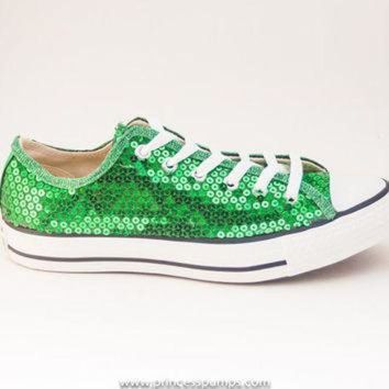 9732190f7e1b CREYON kelly green sequin canvas converse canvas low top sneakers shoes
