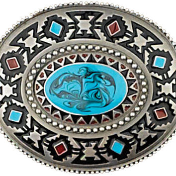 Southwest Turquoise Blue Stone Belt Buckle Made in USA
