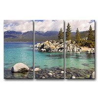 Canvas Print Wall Art Painting For Home Decor Sandy Lake Tahoe Beach With Crystal Clear Turquoise Water And Some Kayakers Rocky Shore In Nevada California United States.Cloud Snow With Sierra Nevada Mountains Rocks Trees In Northwest Twilight 3 Piece Panel