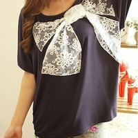 A 072007 Big bow stitching short-sleeved T-shirt