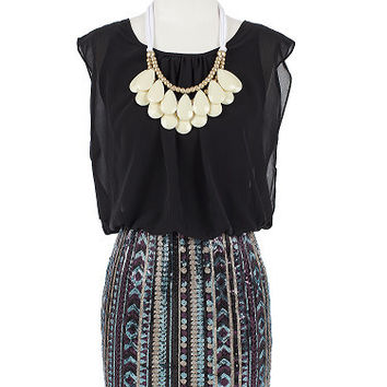 Valentine Dress - Sequin Botton Tribal Dress - Black