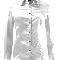 LE3NO Womens Long Sleeve Satin Blouse with Cuffs