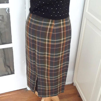 "1950s Plaid Pencil Skirt, Brown, Rust White, Buckle Detail, Wool, Size S/M, 26"" Waist"