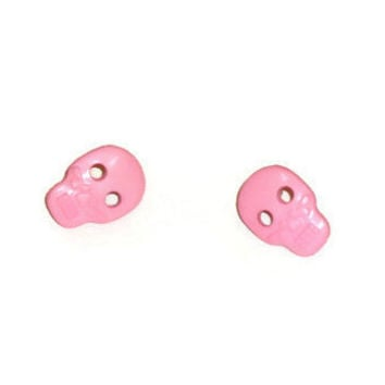 Pair of Pink Sugar Skull Earring Post Studs
