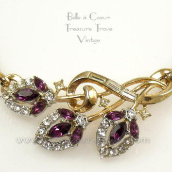 Crown Trifari Vintage Flirtation Choker Necklace Amethyst Purple & Clear Rhinestone Flirtation 1953 Phllippe Patent