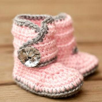 CUPUPS Crochet Baby Booties - Bling Baby Boots - Pink and Grey Baby Shoes - Gray and Pink Ba