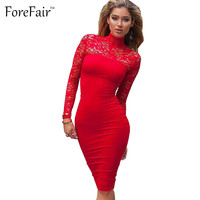 ForeFair 2016 autumn winter turtleneck women patchwork lace perspective vintage dress midi bodycon elegant party dresses