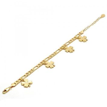 Gold Tone 03.63.1741.08.GT Charm Bracelet, Leaf Design, Polished Finish, Gold Tone