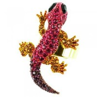 Body Bling Multi-Coloured on Gold Plated Crystal Bling Lizard Ring - Rings from Body Bling UK