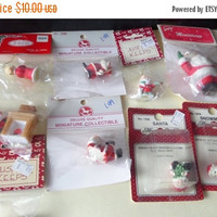 Holiday Sale Vintage Mini Christmas Ornaments - PLASTIC - 1970s - 8 SANTAS