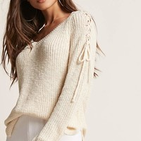 Lace-Up Purl Knit Top