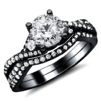 1.20ct Round Diamond Engagement Ring Wedding Set 18k Black Gold Rhodium Plating