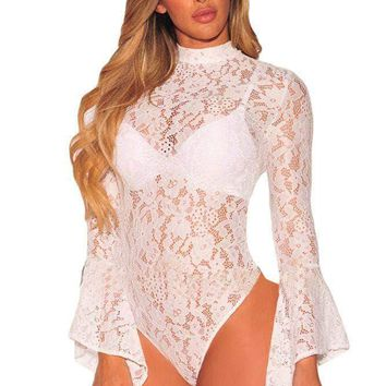 White Sheer Floral Lace Long Bell Sleeve Bodysuit