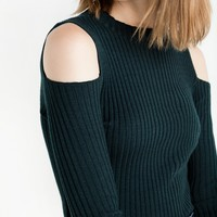 Dark Green Cold Shoulder Ribbed Knit Top by New Revival