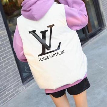 LV Louis Vuitton Autumn Winter New Fashion Women Casual Print Vest Waistcoat Cardigan Jacket Coat White