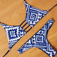 Retro Reversible Swimsuit Bikini Set Two Piece