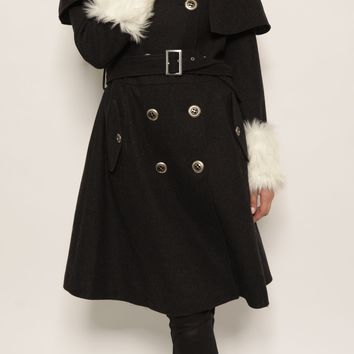 St. Sereno Black Long Coat with White Faux Fur Trim