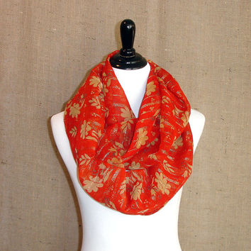 Infinity Scarf: Indian Sari Scarf, Tangerine Orange Eternity Scarf, Gold Zari Border, Floral Circle Scarf, Chunky Chiffon Saree Scarf