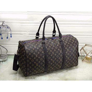 LV Louis Vuitton New Popular Women Monogram Leather Zipper Luggage Travel Bags Tote Handbag Coffee I-MYJSY-BB