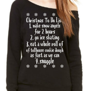 Buddy the elf  Ladies' Sponge Fleece Wide Neck Sweatshirt, SUPER COZY WARM Christmas sweater Off Shoulder Sweatshirt Xmas List