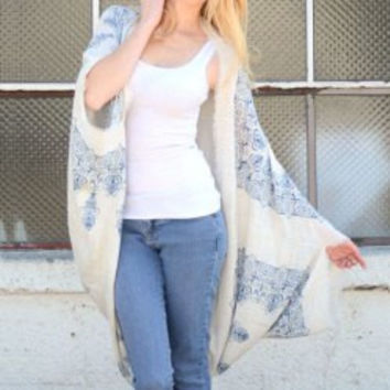 Retro Printed Fringed Scarf