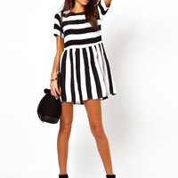 Motel Penny Smock Dress With Bold Stripe