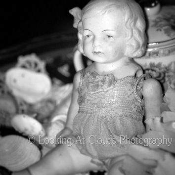 vintage doll - fine art photo - bisque doll - sweet face - - black and white - cottage chic 8x10 wall decor