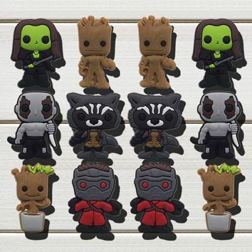 1pc Guardians of the Galaxy PVC Shoe Charms Shoe accessories Shoe decoration Shoe Buckles Accessories Fit Wristband Croc JIBZ