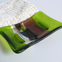 Fused Glass Soap Dish in Light Violet and Spring Green
