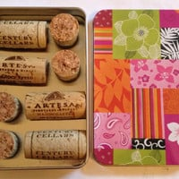 Set of 8 Wine Cork Magnets in a Decorative Tin